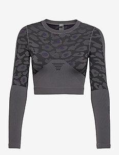 TRUEPUR SL CROP - navel shirts - granit/black