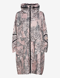 Long Lightweight Allover Print Parka W - parka coats - pnktin/talc/pearos/bl