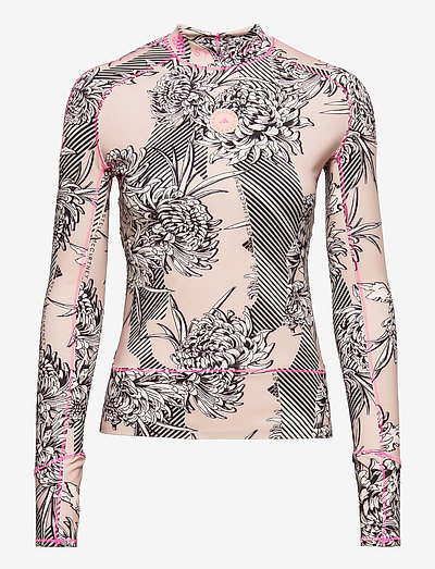 TruePurpose Allover Print Long Sleeve Shirt W - langærmede toppe - pnktin/pearos