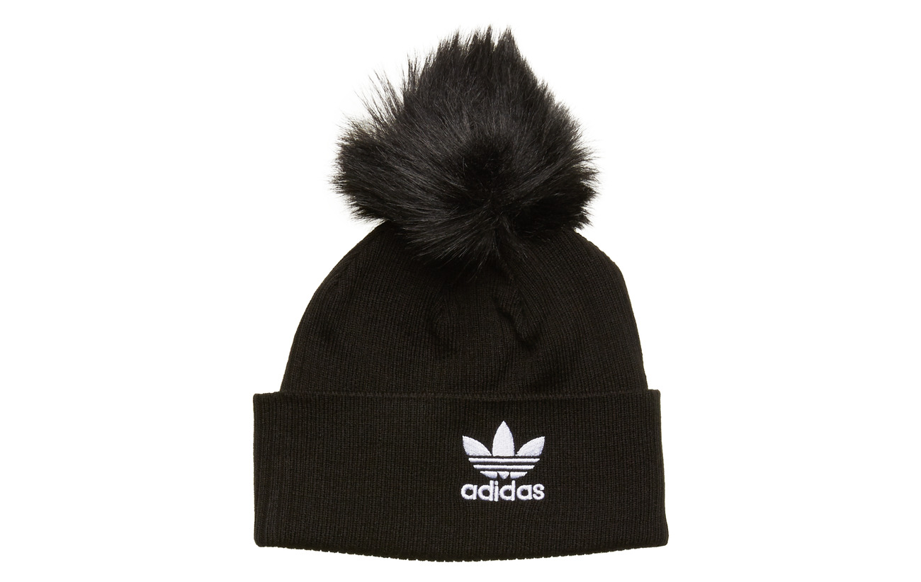 adidas Originals W FUR POM BEANI - BLACK