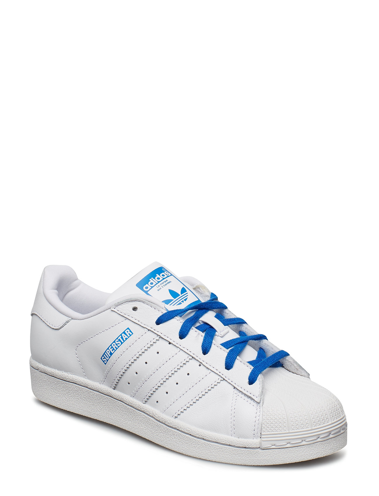 adidas Originals SUPERSTAR J - FTWWHT/FTWWHT/BLUE