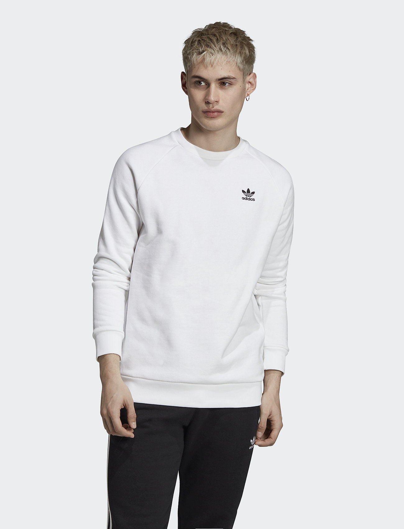 adidas Originals - Trefoil Essentials Crewneck Sweatshirt - overdeler - white/black - 0