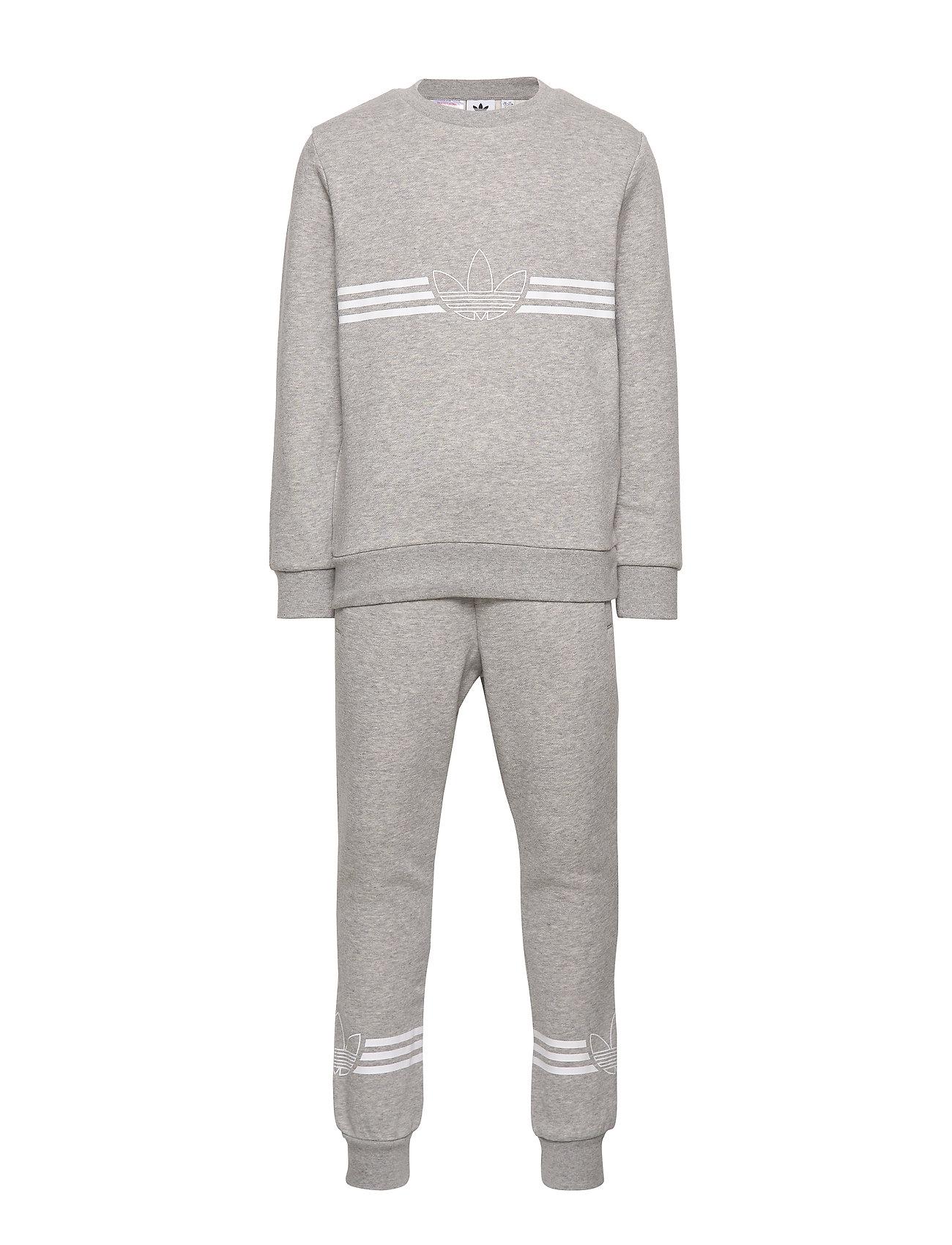 adidas Originals OUTLINE CREW - MGREYH/WHITE