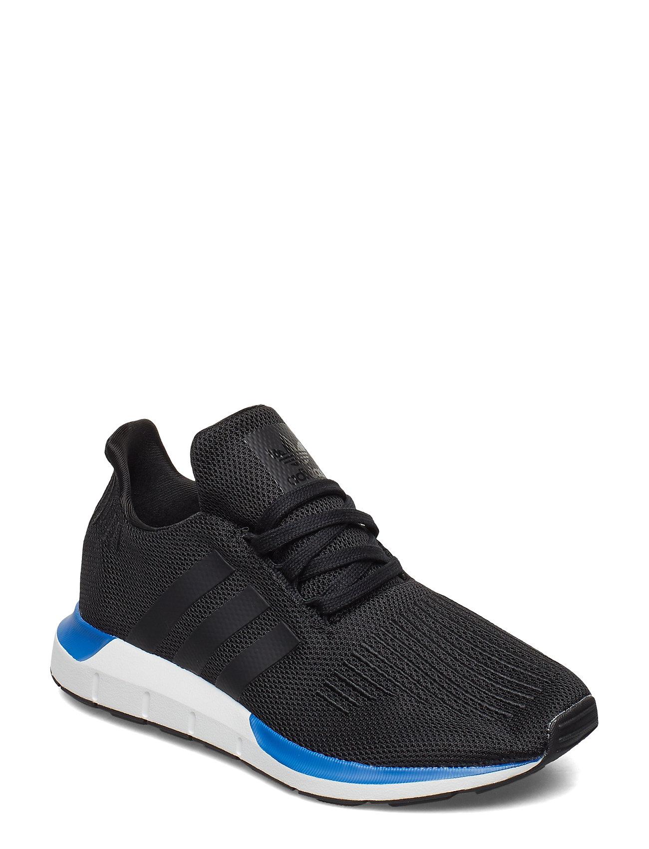 adidas Originals SWIFT RUN J - CBLACK/CBLACK/BLUE