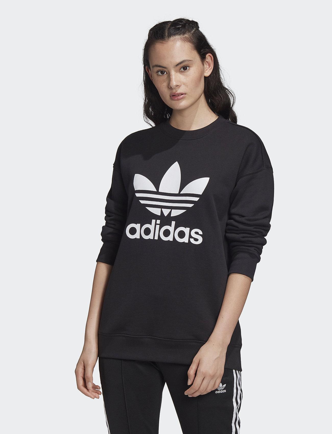 adidas Originals - Trefoil Crew Sweatshirt W - sweatshirts - black/white - 0