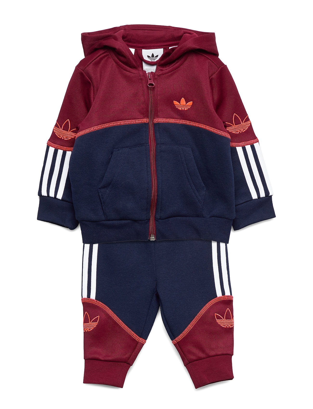 adidas Originals OUTLINE FZ HOOD - CBURGU/NINDIG/WHITE