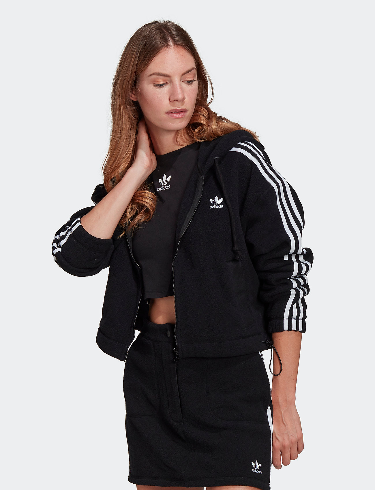 adidas Originals - Adicolor Classics Polar Fleece Full-Zip Hoodie W - fleece - black - 0