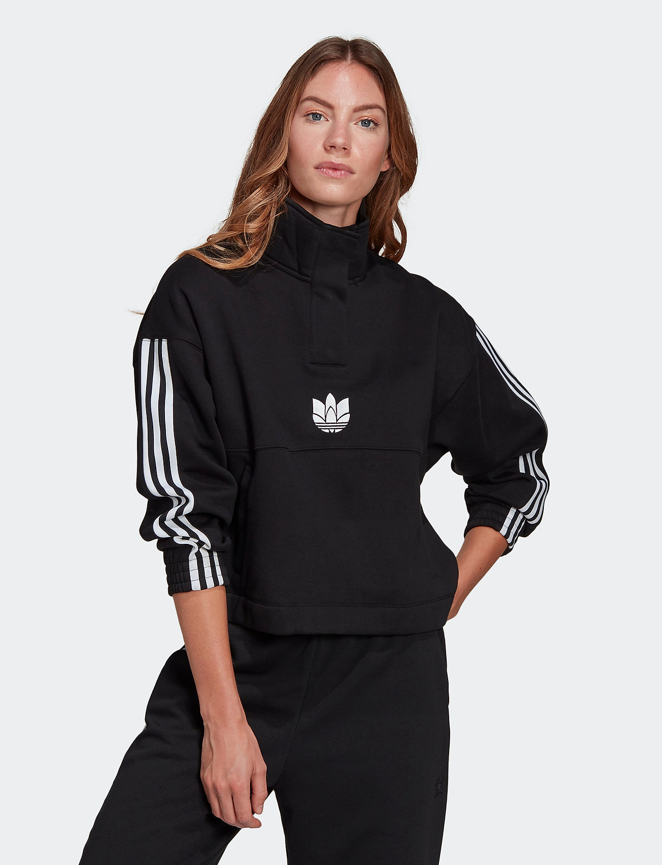 adidas Originals - Adicolor 3D Trefoil Fleece Half-Zip Sweatshirt W - sweatshirts - black - 0