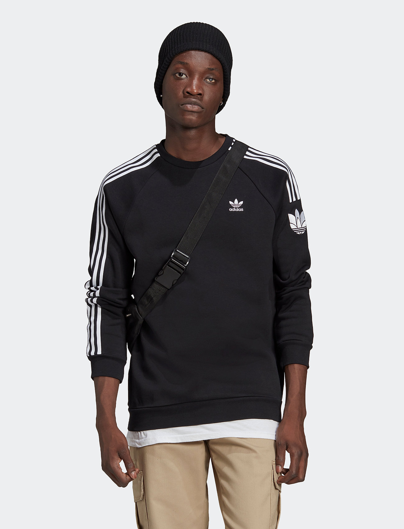 adidas Originals - Adicolor 3D Trefoil 3-Stripes Crew Sweatshirt - basic sweatshirts - black - 0