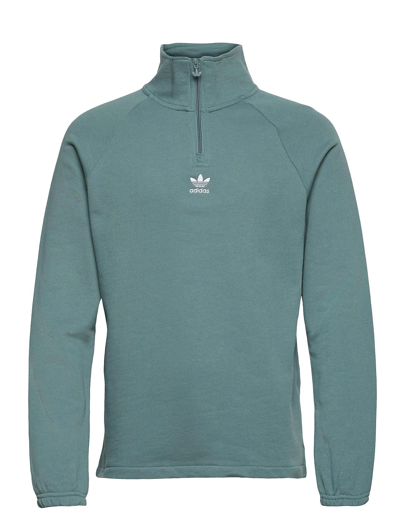 Adicolor Classics Front And Back Trefoil Half-Zip Sweatshirt Sweatshirt Trøje Grøn Adidas Originals