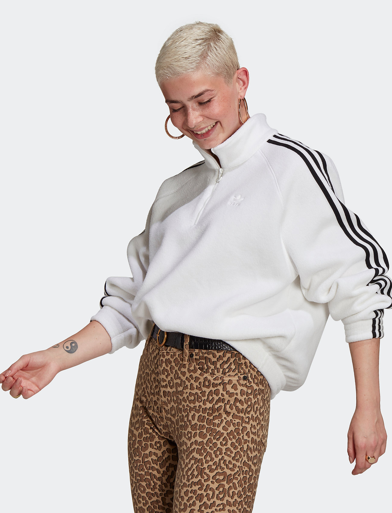 adidas Originals - Adicolor Classics Polar Fleece Half-Zip Sweatshirt W - fleece - white/black - 0