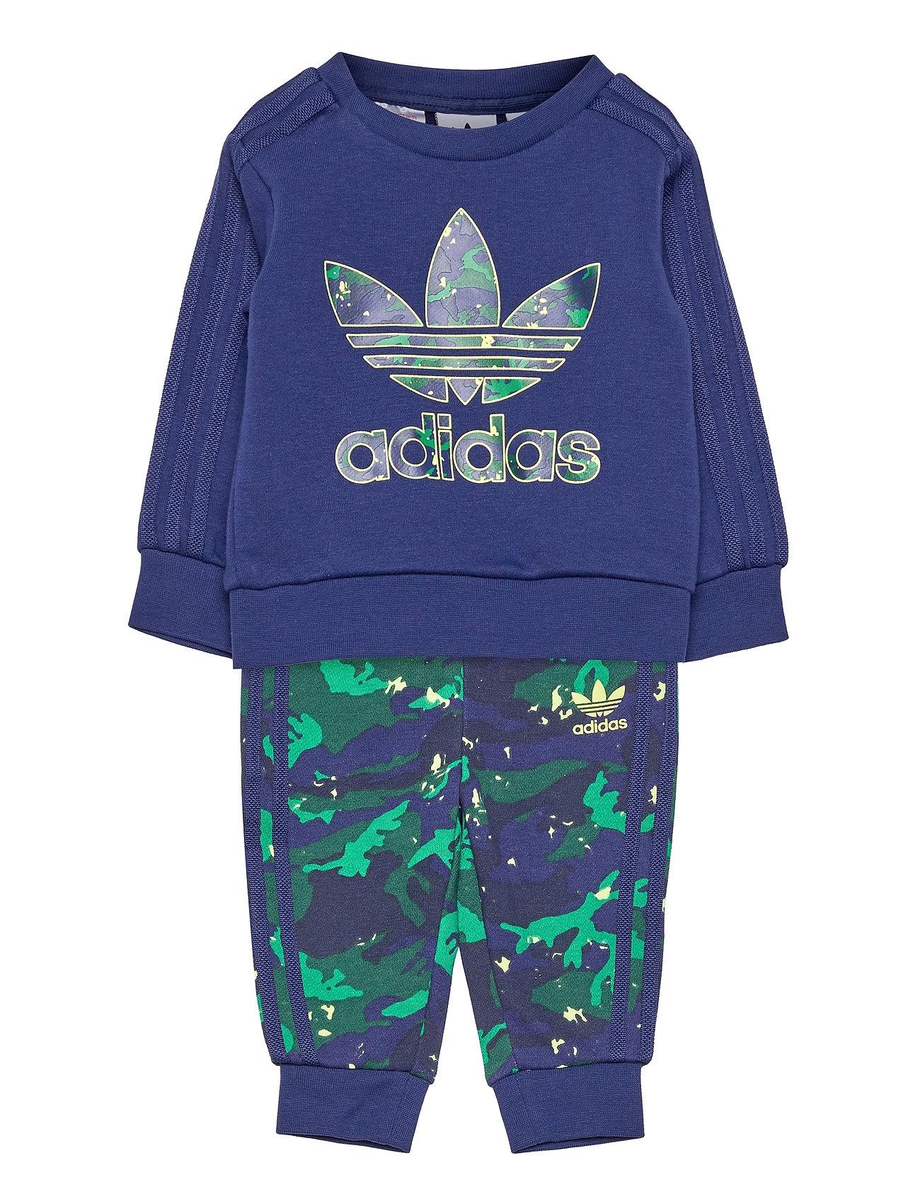 Camo Print Crew Set Tracksuit Blå Adidas Originals