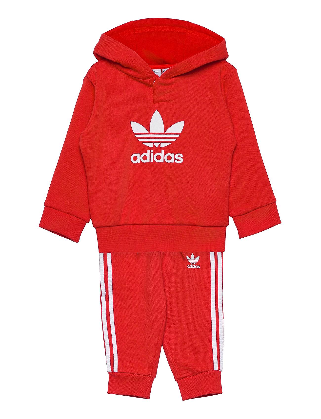 Adicolor Hoodie Set Tracksuit Rød Adidas Originals