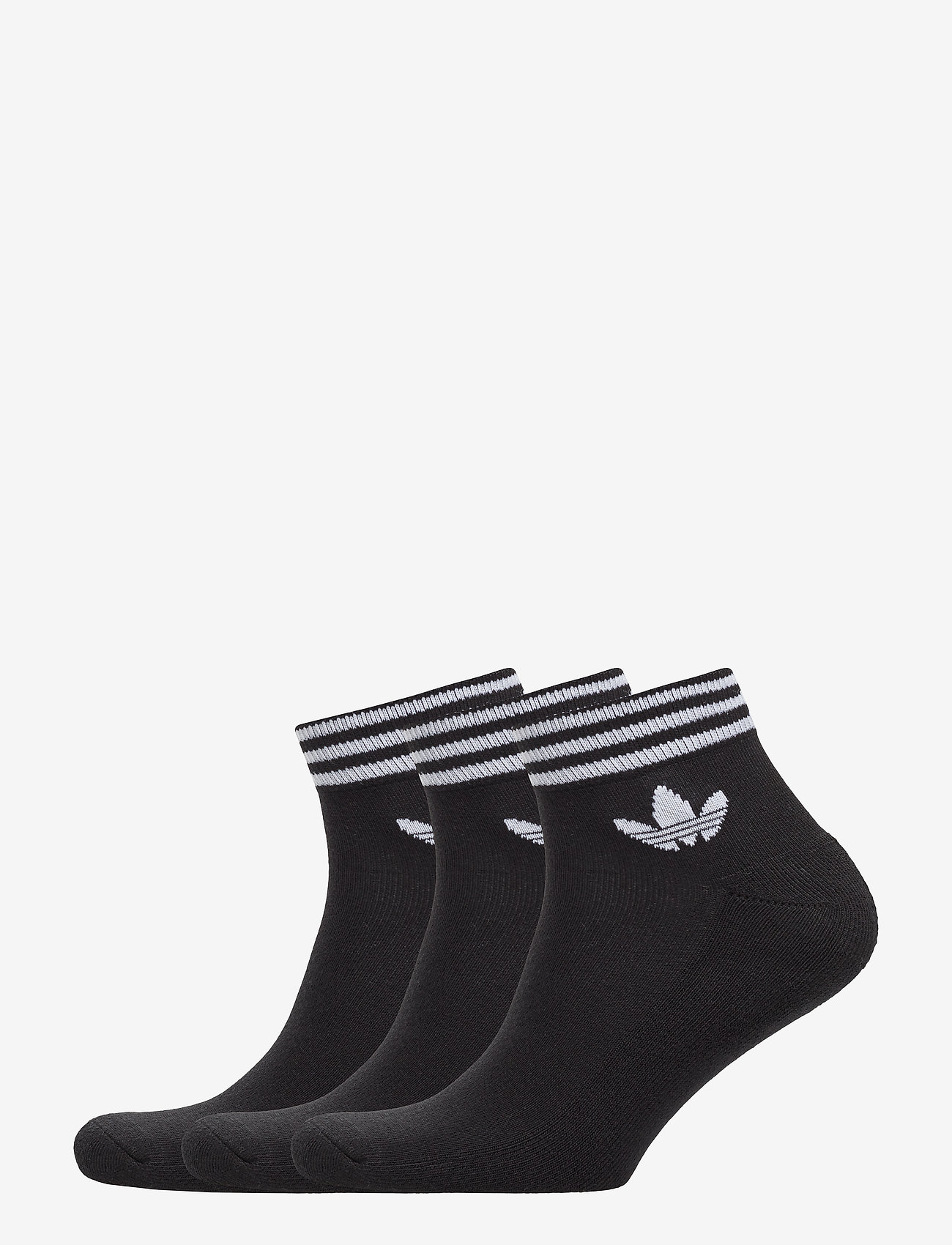 adidas Originals - Trefoil Ankle Socks 3 Pairs - nilkkasukat - black/white - 0