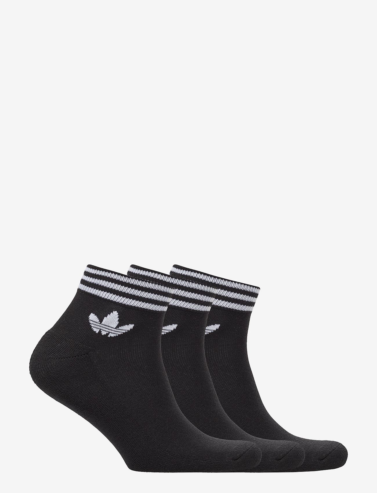 adidas Originals - Trefoil Ankle Socks 3 Pairs - nilkkasukat - black/white - 1