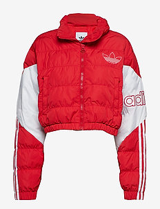 CROPPED PUFFER - SCARLE/WHITE