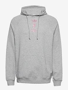 ZENO HOOD - basic sweatshirts - mgreyh/scarle