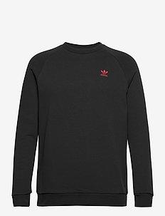 ESSENTIAL CREW - sweatshirts - black/scarle