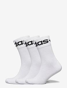 Fold-Cuff Crew Socks 3 Pairs - vanliga strumpor - white/black