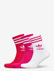 Mid Cut Crew Socks 3 Pairs - vanliga strumpor - white/bopink/bolred