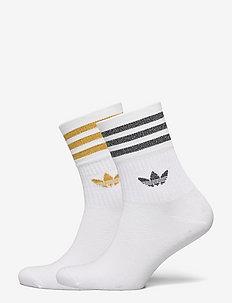 Mid-Cut Glitter Crew Socks 2 Pairs W - sockor - white/black/vicgol