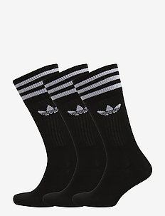 SOLID CREW SOCK - str - black/white