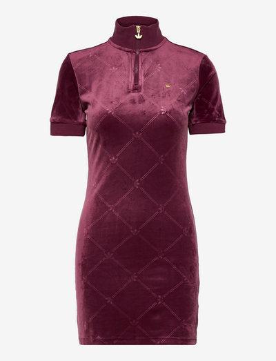 SHORT SLEEVE DRESS WITH HIGH COLLAR - sommerkjoler - viccri