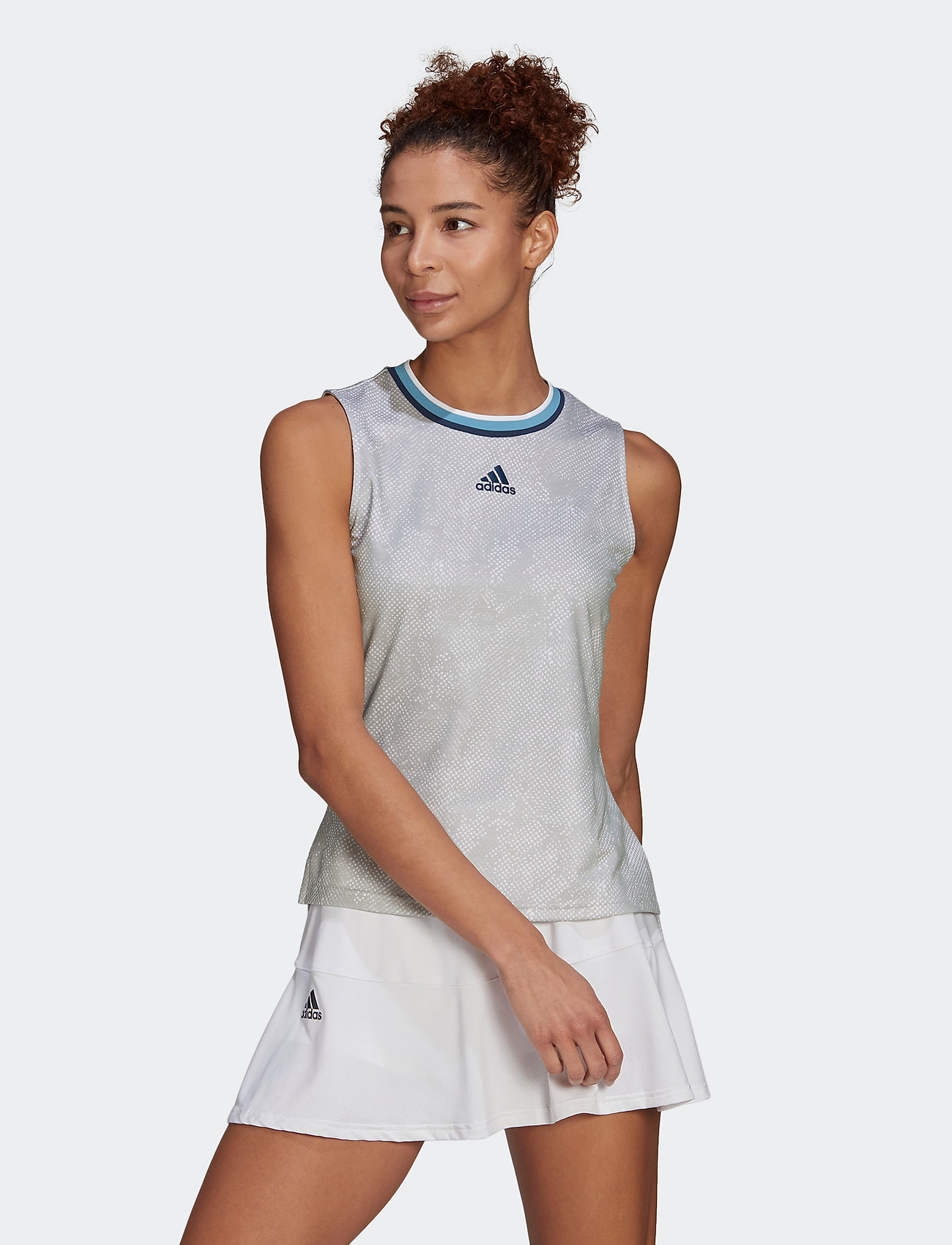 adidas Performance - Tennis Primeblue Printed Match Tank Top - linnen - white - 0