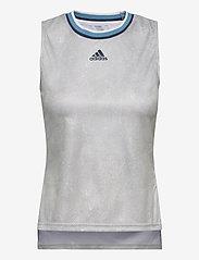 adidas Performance - Tennis Primeblue Printed Match Tank Top - linnen - white - 1