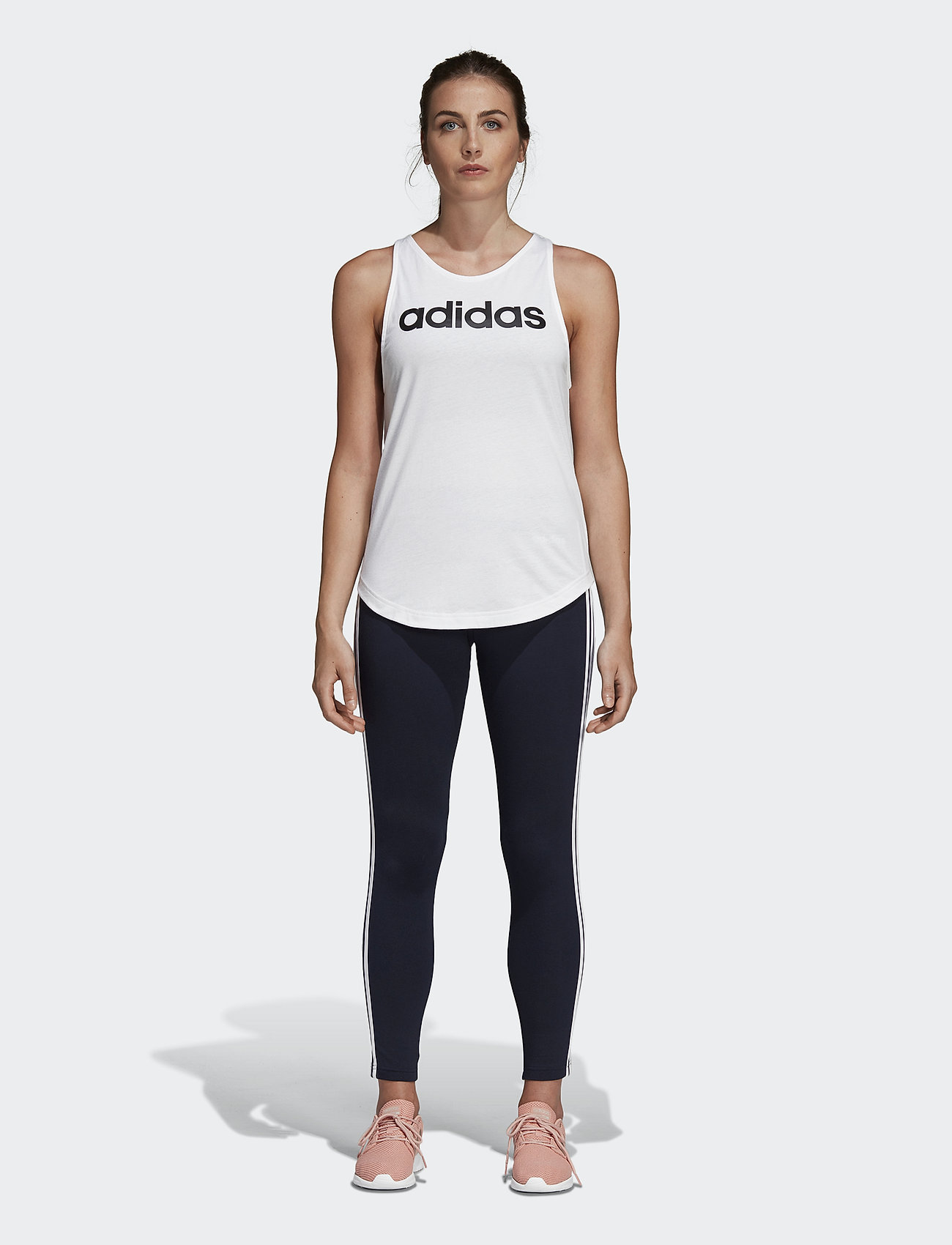 adidas Performance - Essentials Linear Tank Top W - topjes - white/black - 0