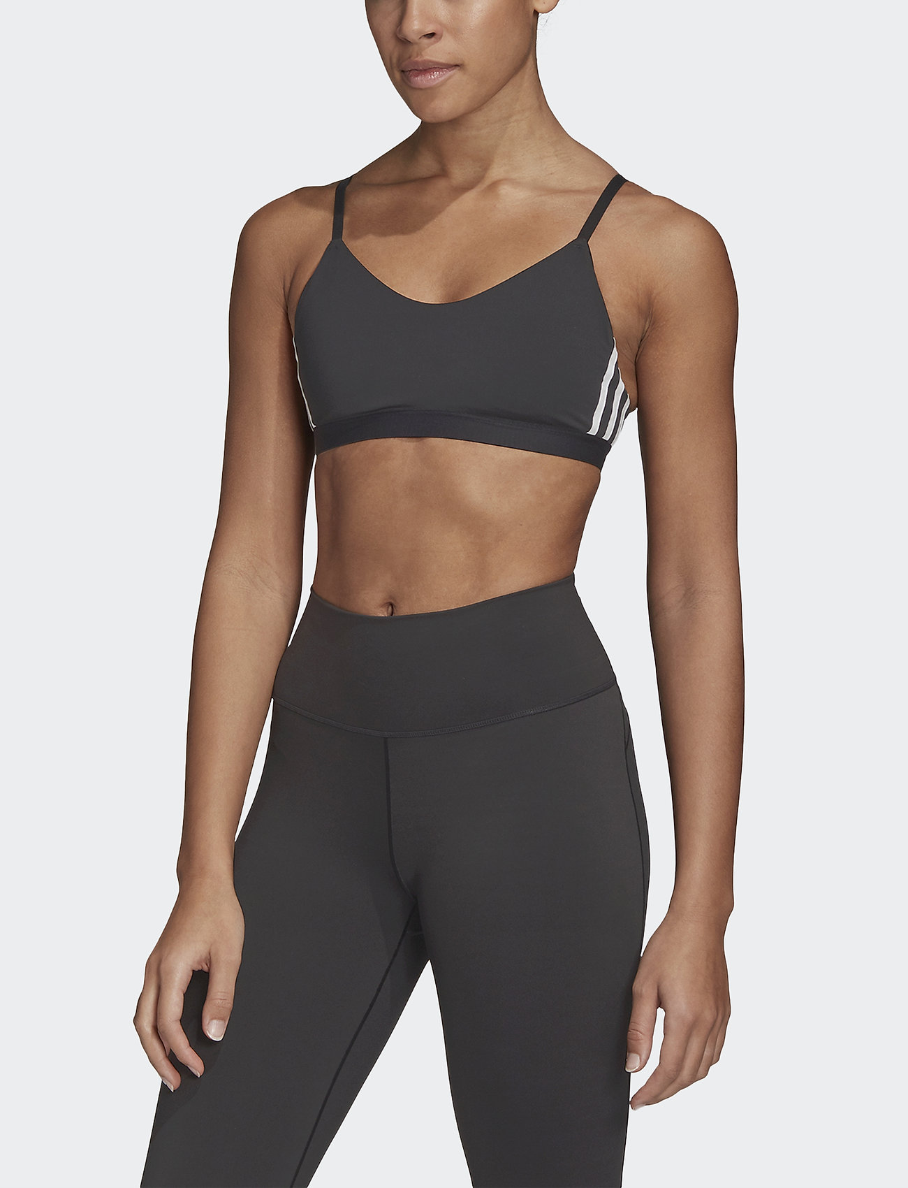 adidas Performance - All Me 3-Stripes Low Support Sports Bra W - sport bras: low - black/white - 0