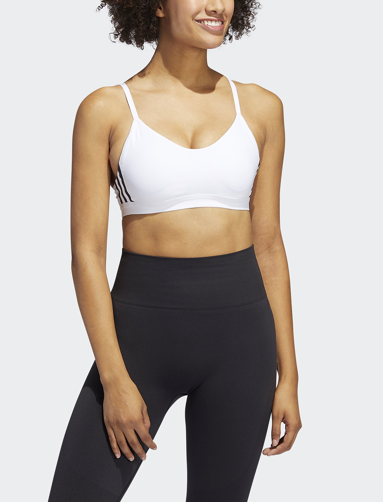 adidas Performance - All Me 3-Stripes Light Support Bra W - sportbeh''s: low - white/black - 0