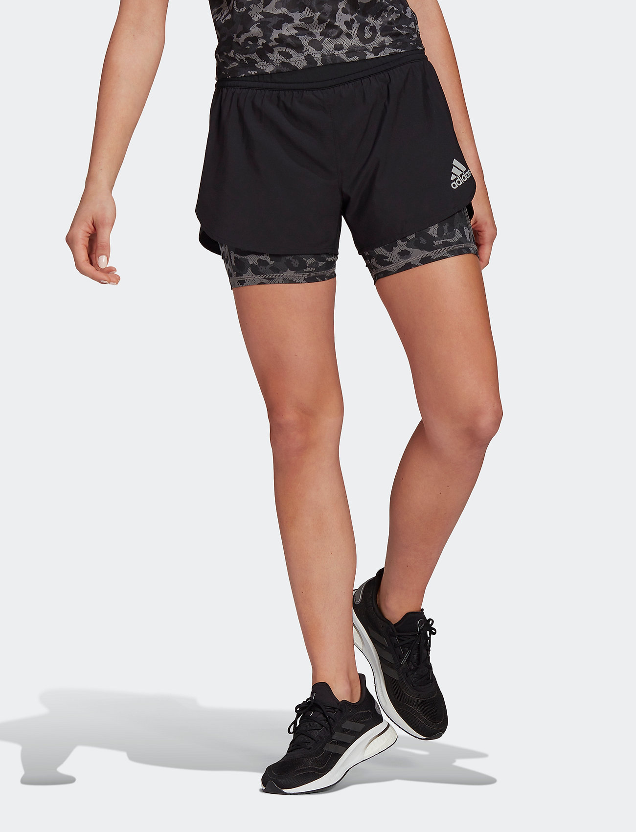 adidas Performance - Fast Two-in-One Primeblue Graphic Shorts W - træningsshorts - black/grefou - 0