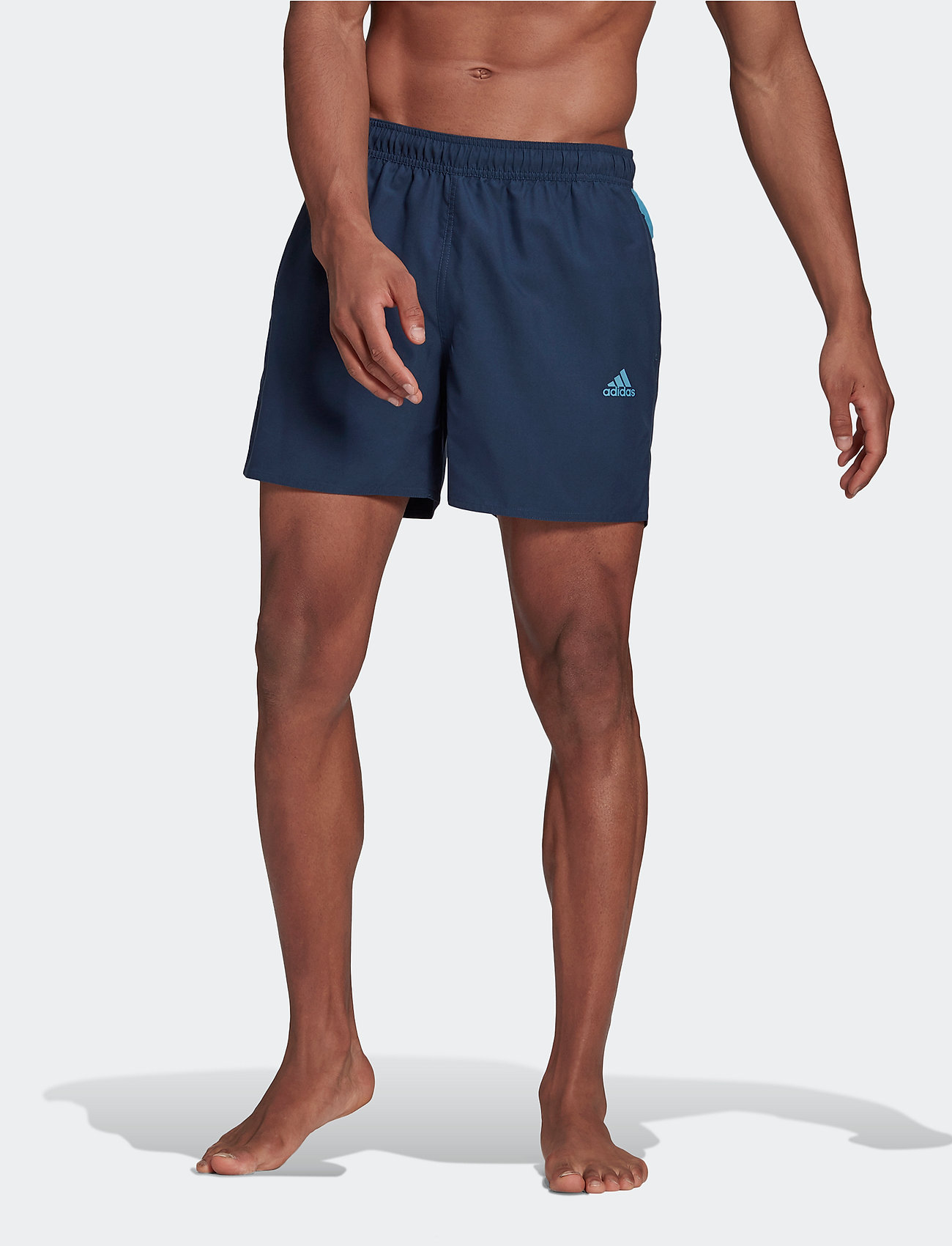 adidas Performance - Short-Length Colorblock 3-Stripes Swim Shorts - shorts - crenav/hazblu - 0