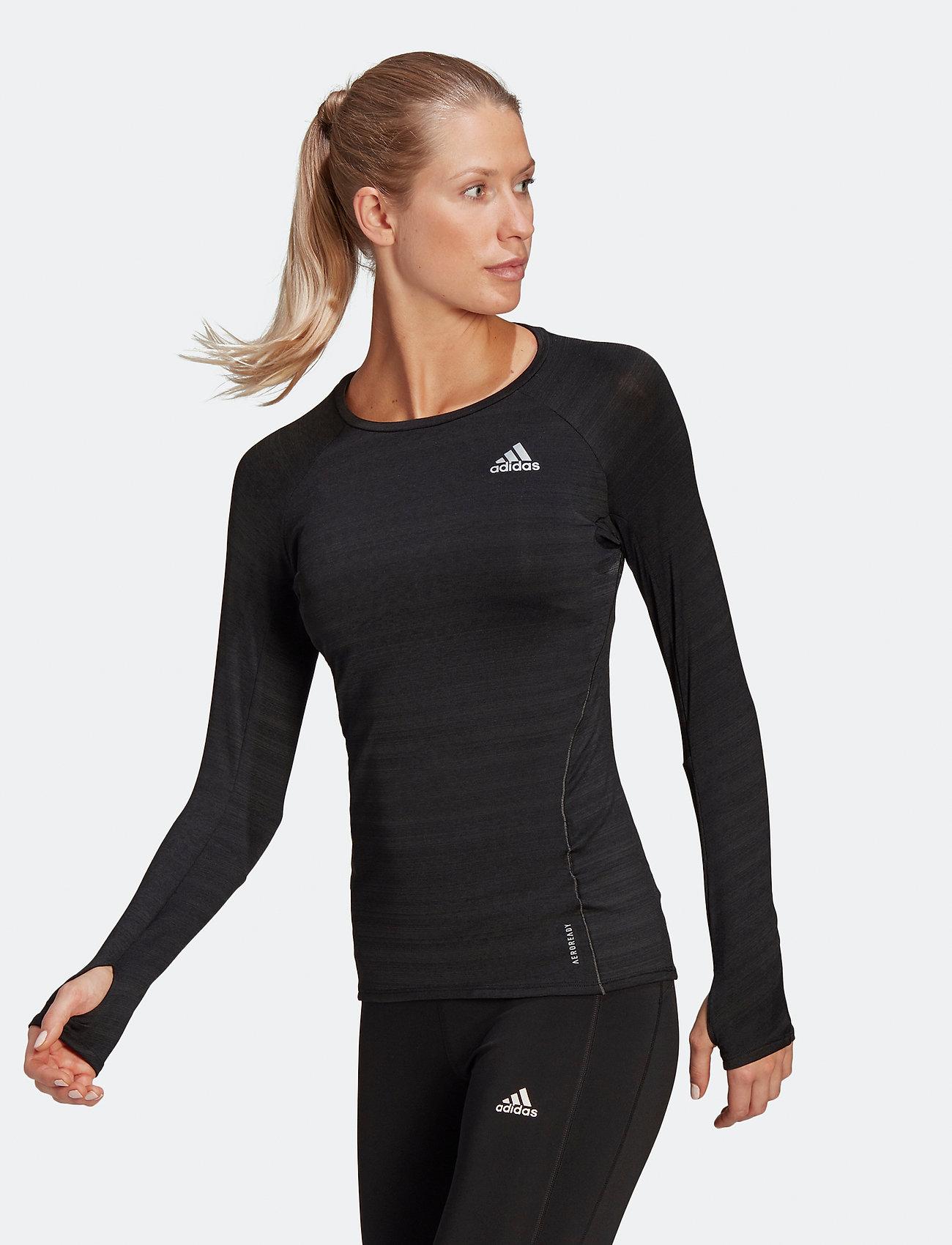 adidas Performance - Runner Long Sleeve T-Shirt W - topjes met lange mouwen - black/refsil - 0