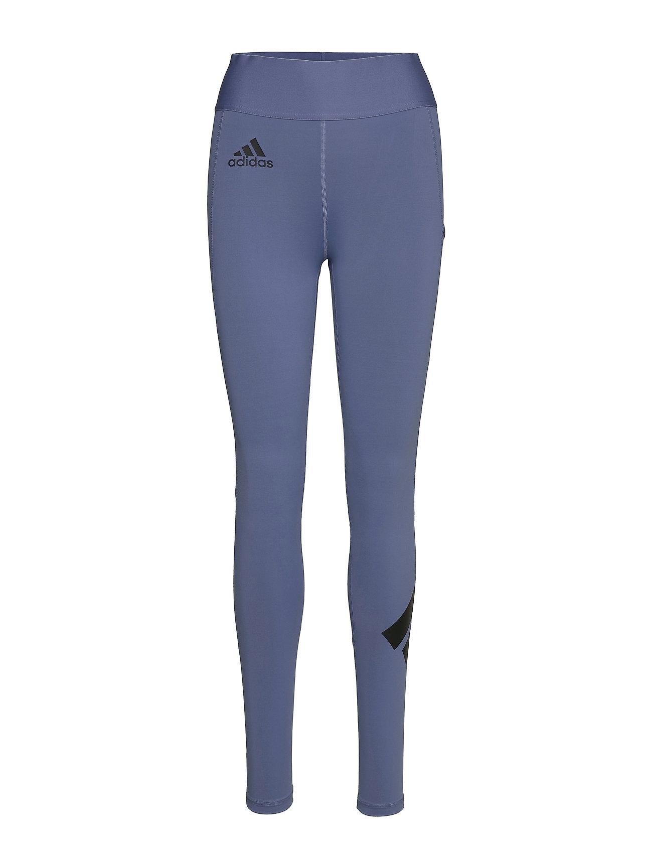 Techfit Logo High Waist Long Tights W Running/training Tights Blå Adidas Performance