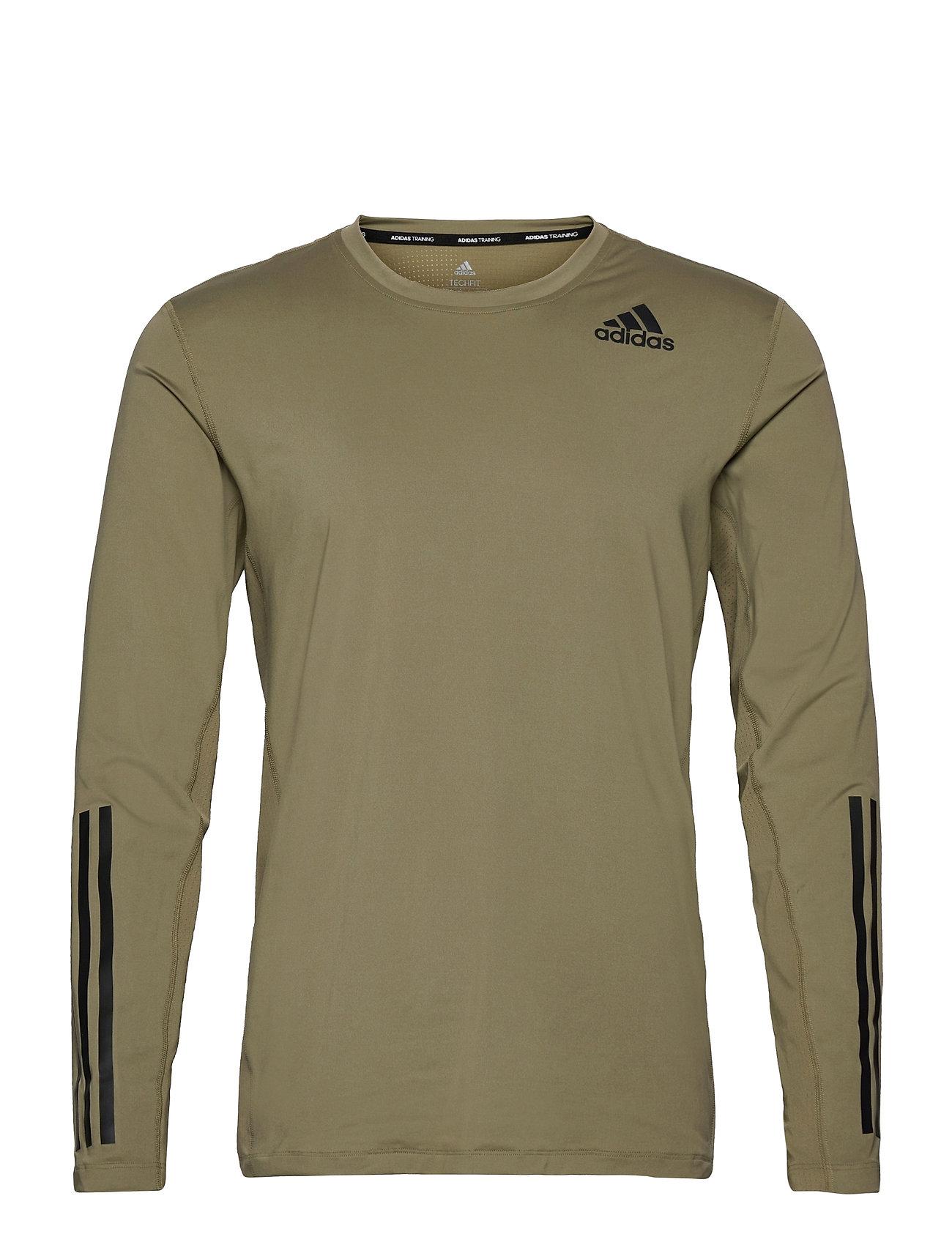 Techfit 3-Stripes Fitted Long Sleeve Top T-Langærmet Skjorte Grøn Adidas Performance