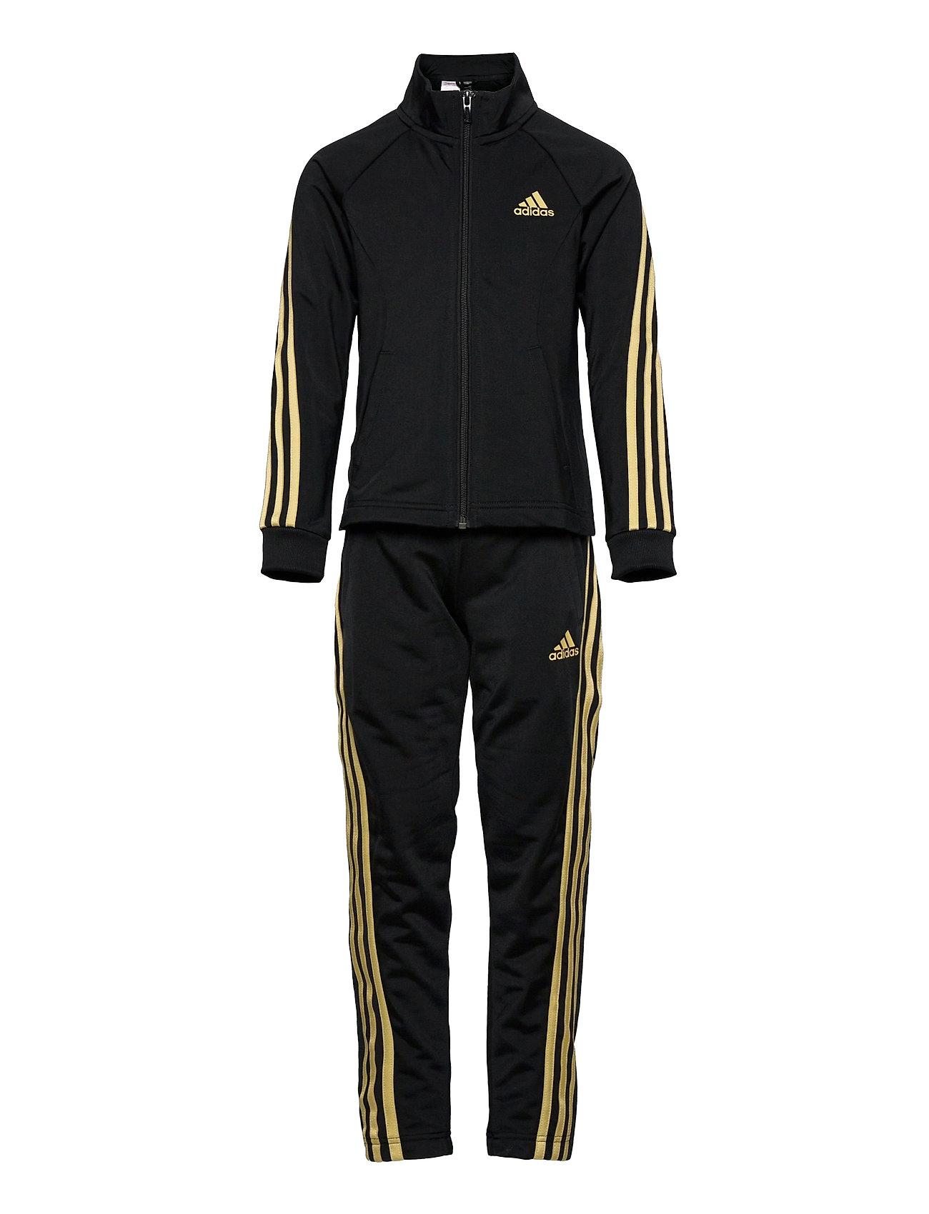 Team Polyester Regular 3-Stripes Track Suit W Tracksuit Sort Adidas Performance