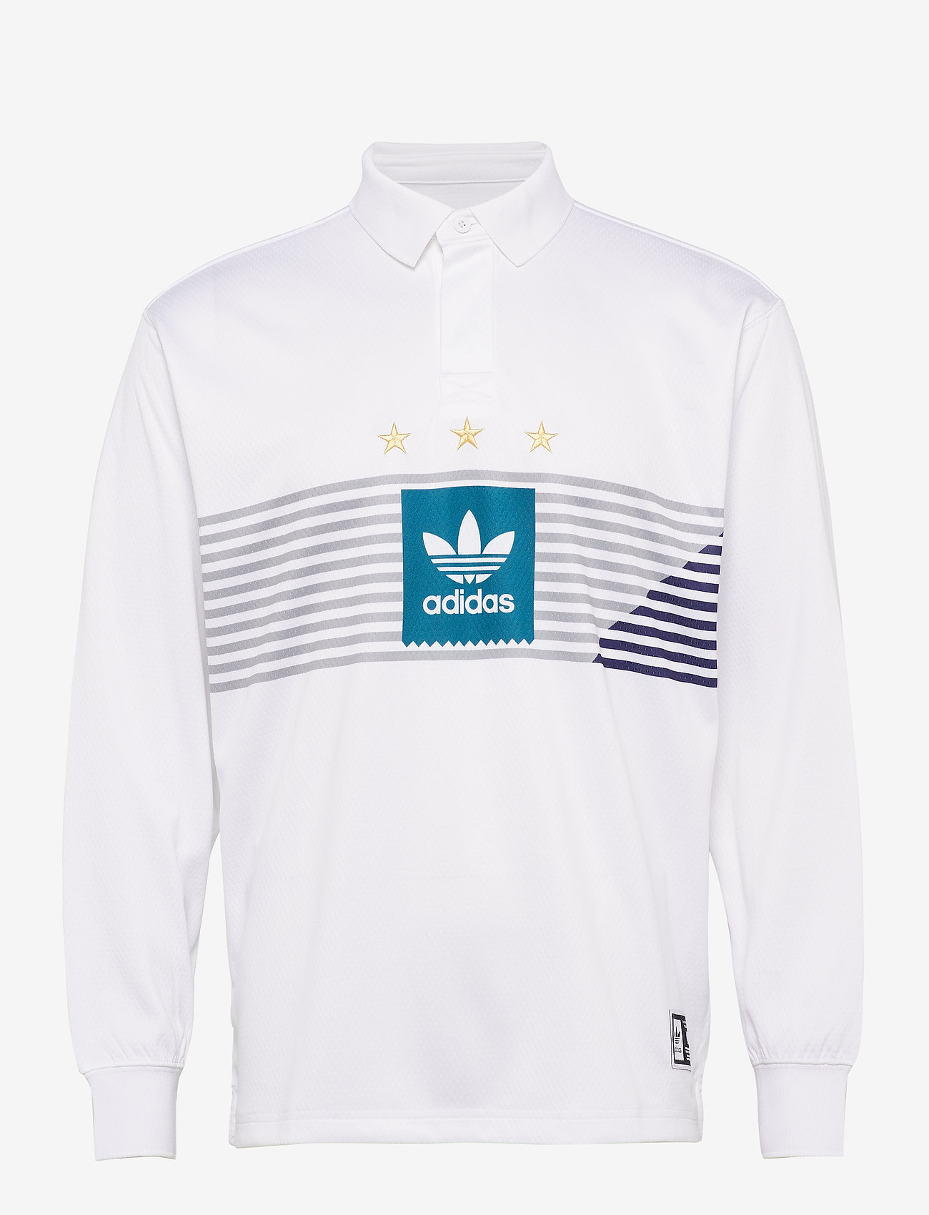 Elvtd Ls Rugby (White/gretwo/acttea/c) - adidas Performance PvCDfJ