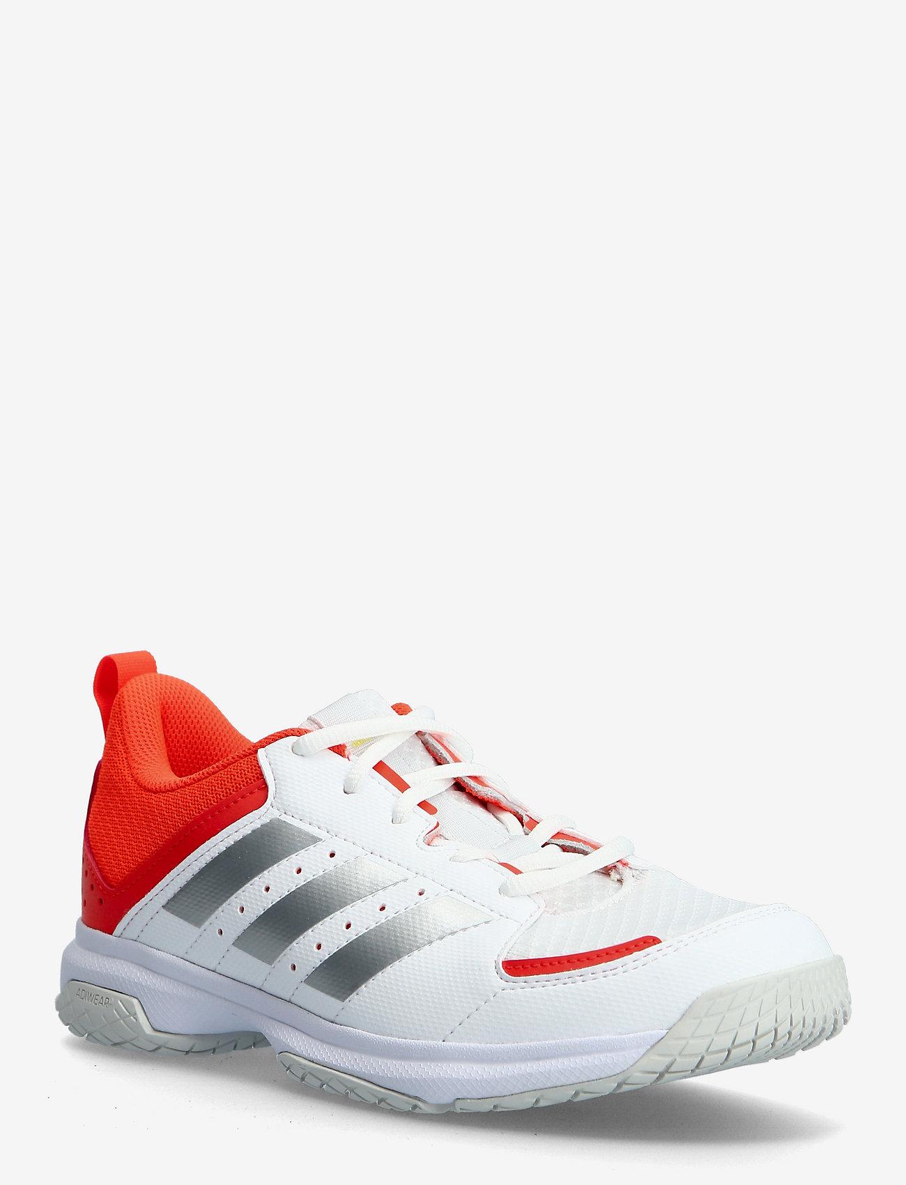 adidas Performance - Ligra 7 Indoor  W - indendørs sportssko - ftwwht/aciyel/solred - 0
