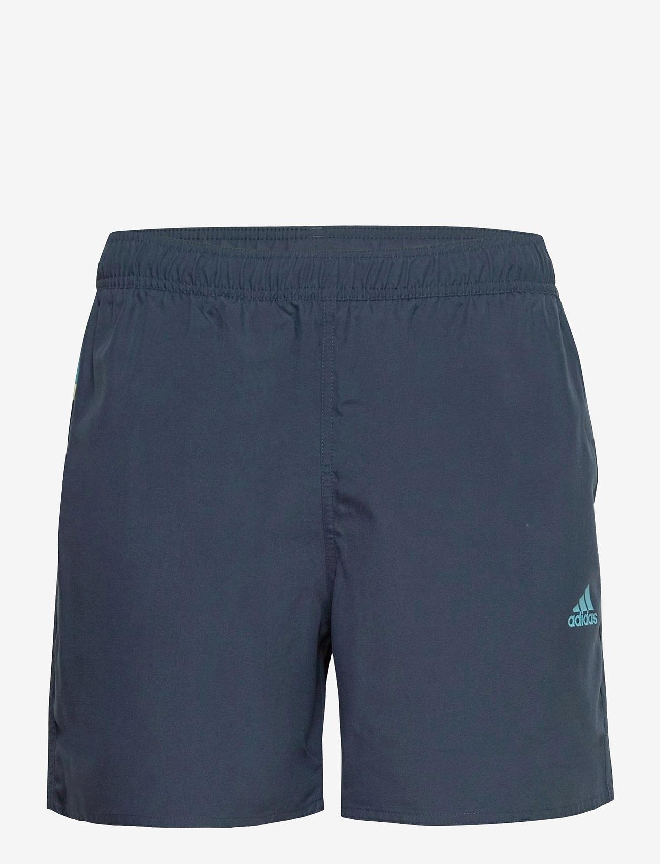 adidas Performance - Short-Length Colorblock 3-Stripes Swim Shorts - shorts - crenav/hazblu - 1
