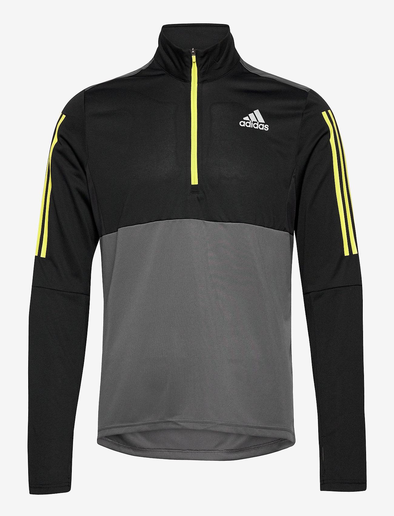 adidas Performance - Own The Run Running 1/2 Zip Sweatshirt - podstawowe bluzy - grefiv/black/aciyel - 0