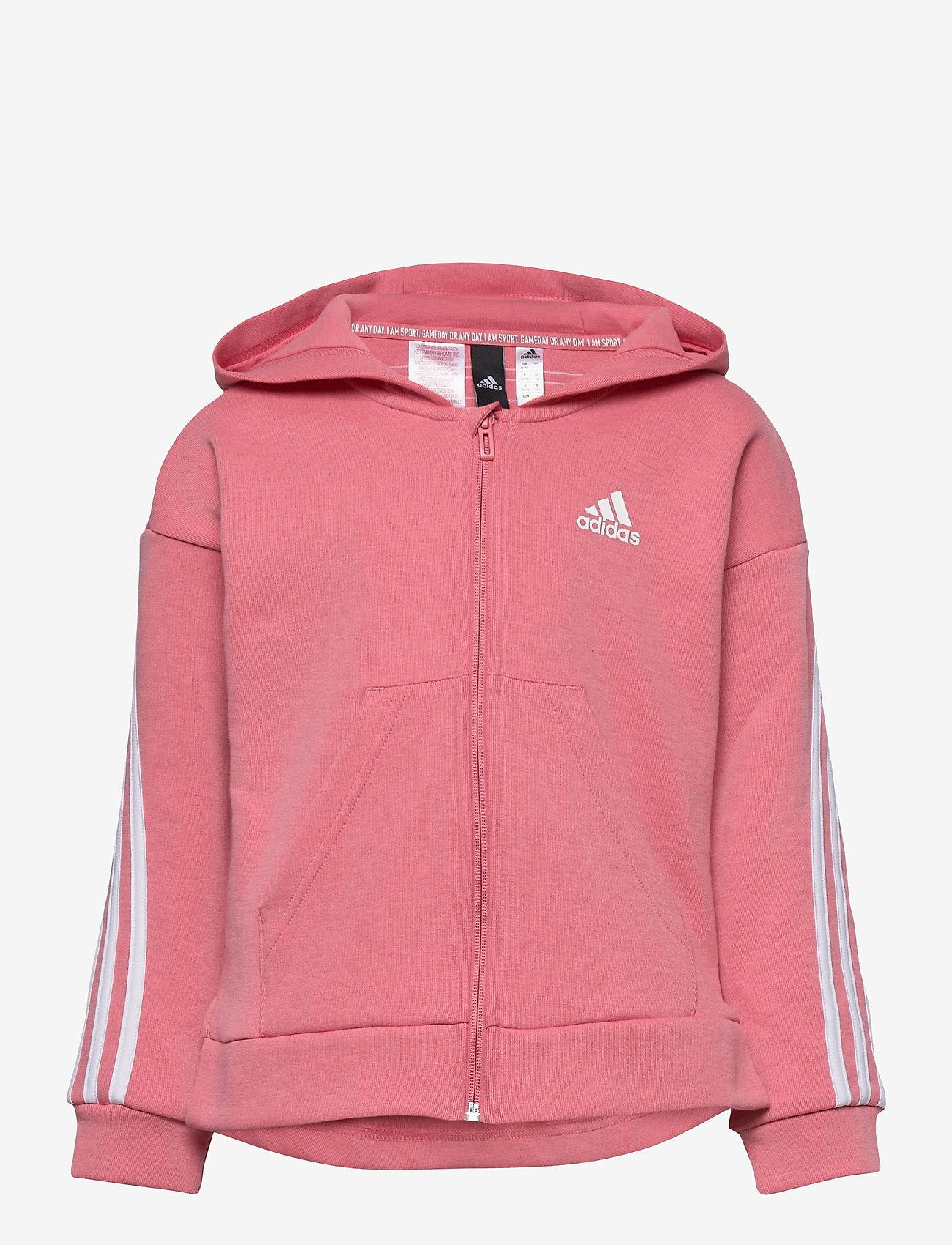 adidas Performance - 3-Stripes Full-Zip Hoodie - hoodies - hazros/white - 0