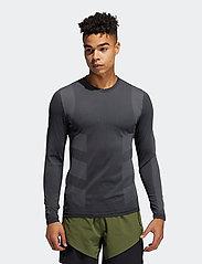 adidas Performance - Studio Techfit Seamless Long Sleeve T-Shirt - basic-strickmode - black/gresix - 0