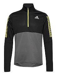 Own The Run Running 1/2 Zip Sweatshirt - GREFIV/BLACK/ACIYEL