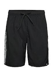 Classic-Length 3-Stripes Swim Shorts - BLACK/WHITE