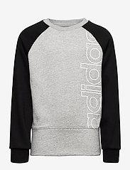 adidas Performance - YB LOGO CREW - sweatshirts - mgreyh/white - 0