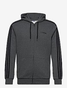 Essentials 3-Stripes Fleece Hoodie - hoodies - dgreyh/black
