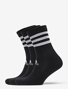 3-Stripes Cushioned Crew Socks 3 Pairs - tavalliset sukat - black/black/black
