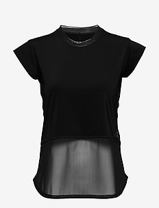 POWER MESH TEE - t-skjorter - black
